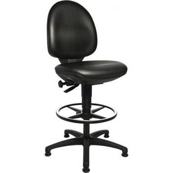 Arbeitsdrehstuhl Tec 50, Bodengleiter Fußring, Kunstleder schwarz, 590-840mm