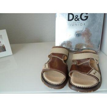 D&G Sandale L92532 Braun/Beige Leder/Textil G.32
