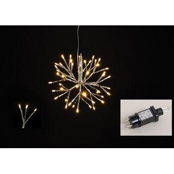 Lichterzweige Kugel 48er LED aus Kunststoff Silber Ø25cm  für Innen, mit Timer