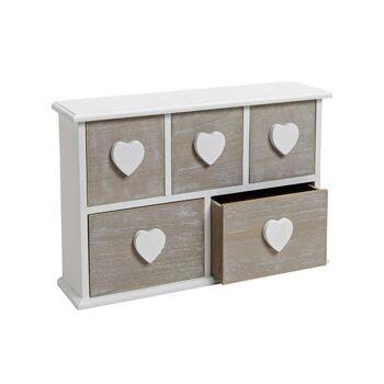 Schränkchen mit 5 Schubladen aus Holz, B35 x T9 x H24