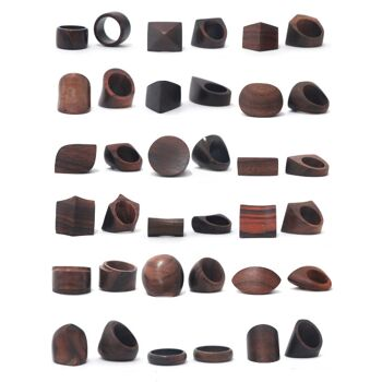 Sonderposten Schmuck Holz Natur aus Bali - Ring Ringe - Damen Frauen - Muschel Leder Perlmutt - Handarbeit - 2.520 Stück - ab 0,90 EUR/Stück