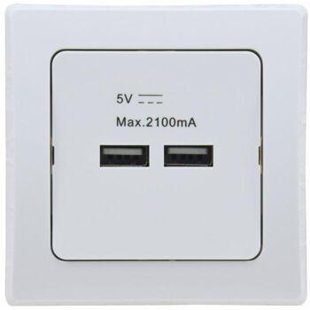 DELPHI USB-Ladedose 2-fach, weiß 250V~/ 16A, UP, 5V=, gesamt max. 2A