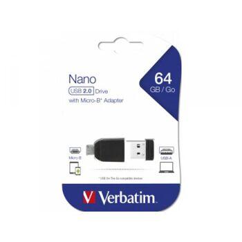 Verbatim USB 2.0 OTG Stick 64GB Micro USB Adapter Nano Blister 49329