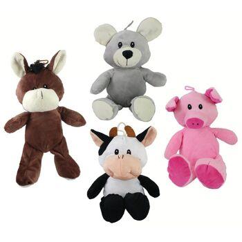 27-24798, Plüsch Tiere 30 cm, mit Schlenkerbeinen, Plüschsortiment, Maus, Kuh, Schwein, Pferd