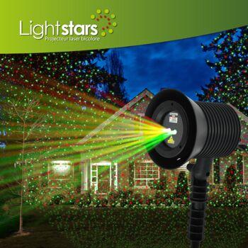 LaserLight PRO Projektor innen/außen IP65, 9 Farben/Modi, dynamische und statische Motive - 153 Stück
