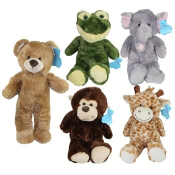 27-31655, Plüsch Tiere 60 cm, mit Glitzeraugen, Plüschtier, Giraffe, Bär, Affe, Frosch, Elefant