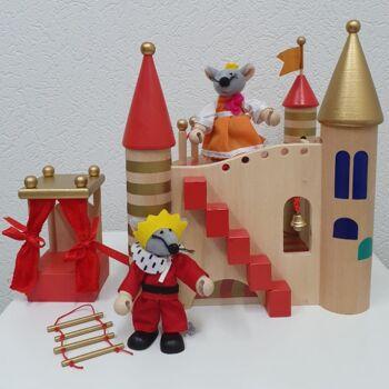 Holzspielzeug Spielpalast Spielzeug Schloss Mäuse König Schloß Königin Figuren Sonderposten Restposten