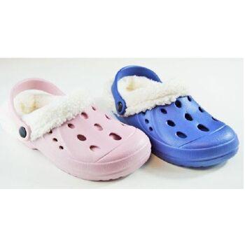 Kinder-EVA-Clogs mit Warmfutter - Pink/Hellblau - mit Applikationen, Saunaschuh, Badeschuh, Freizeitschuh, Strandschuh, Kinderschuh