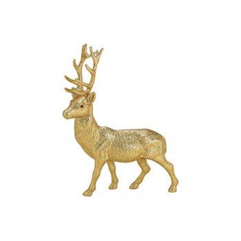Hirsch mit Glitter aus Kunststoff Gold (B/H/T) 30x39x7cm
