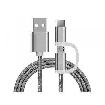 Reekin 2 in 1 Ladekabel (USB Micro & Type-C) - 1,0 Meter (Silber-Nylon)