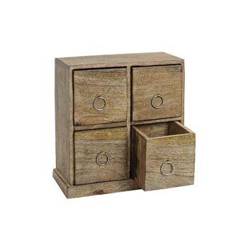 Schränkchen mit 4 Schubladen aus Mango Holz Braun (B/H/T) 23x24x10cm