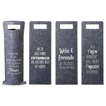 28-628052, Filz Flaschentasche mit Weinsprüchen, Geschenktasche, Geschenktüte, Geschenkbeutel