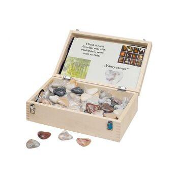 Herzen aus Marmor, sortiert, 4 cm, 100 Stück im Holzdisplay