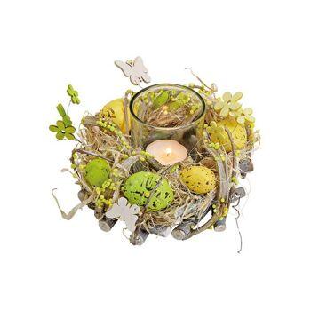 Deko Kranz Kunststoff bunt Eier mit 1 Glas Teelichthalter aus Holz Bunt (B/H/T) 16x9x16cm