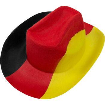 Deutschland Filzhut Fussball WM EM Fan Cowboyhut Schwarz Rot Gelb