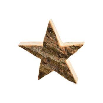 Stern Holz Rinde aus Holz Natur (B/H/T) 20x20x4cm