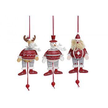 Weihnachts-Hampelmann-Figuren aus Holz 3-fach sortiert,  B14 cm