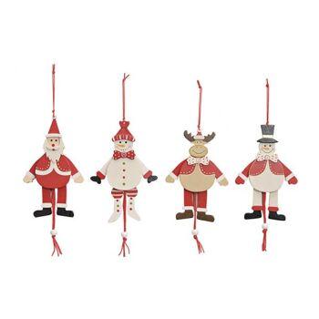 Weihnachts-Hampelmann-Figuren aus Holz, 4-fach sortiert, B15 cm