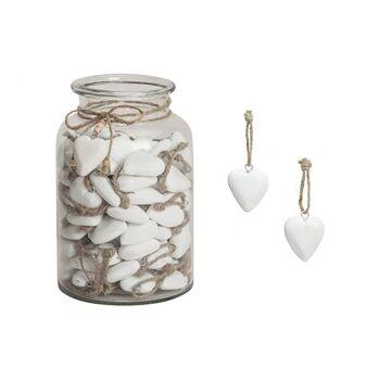 Hänger Herz in weiß im Glas aus Holz, 5 cm