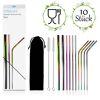 stracks® Metall Strohhalm, 10er Mix Set - Wiederverwendbar, Lebensmittelsicher und Spülmaschinenfest - Edelstahl Strohhalm