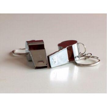 27-12493, Metallpfeife 4,5 cm, an Schlüsselkette, Trillerpfeife aus Metall