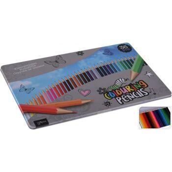 Buntstifte in Metallbox 36 Stück,, Box 29,5 x 18,5 cm, Stifte 17,5 cm lang