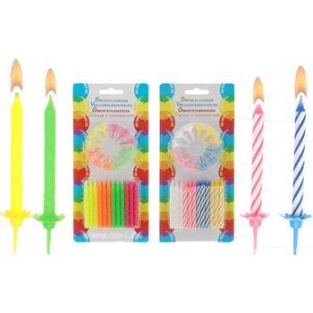 Geburtstags-Kerzen 24 St. und 12 Halter, Blister, 2 Sorten je VE