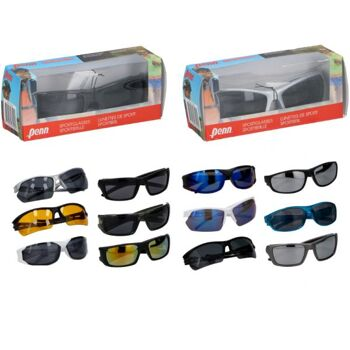 Sport Sonnenbrille, Kunststoff 6 Modelle, hochwertige Verkaufsbox, sortiert im Display