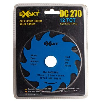 Große Palettenaktion - jetzt wird aufgeräumt - Sägeblatt Exact DC270  12TCT für Holz - 1099 Stück