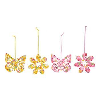 Hänger Schmetterling, Blume aus Holz Pink/Rosa, gelb 4-fach, (B/H) 10x9cm