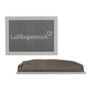 Kissen-Tablett Lieblingsmensch aus Holz grau, (B/H/T) 43x32cm