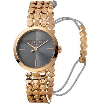 Esprit Uhr Uhren Damenuhr + Armband ES1L018M0055 Bliss Black Rosegold