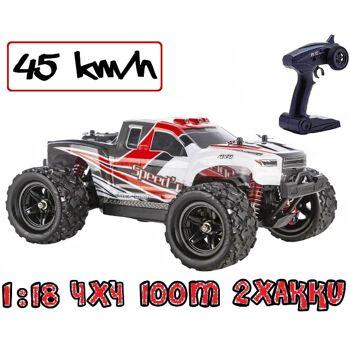 Blij´r Speed´r ferngesteuerter RC Monstertruck Rot 45 km/h, 1:18, 2 Akkus, Allrad, 100m, Funk Auto RTR Modellbau Spielzeug Truck