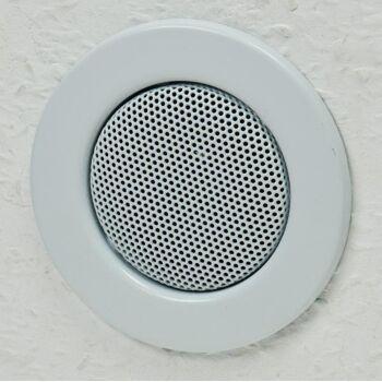 Decken-Einbaulautsprecher ''Mini'', Halogen-Look, 8cm Ø, 6cm Einbau, weiß