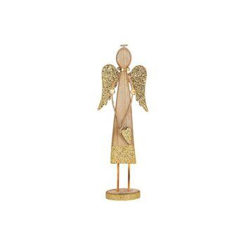 Engel mit Metall Flügeln aus Holz Braun, gold Glitter (B/H/T) 12x35x5cm
