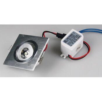 LED-Einbauleuchte ''QD-1'', 1W, 80lm, ALU, 3000K, 45°, 230V/50Hz