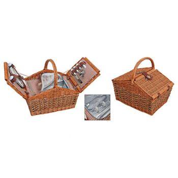 Picknickkorb für 2 Personen aus Weide, 15-teilig, B40 x T28 x H19 cm