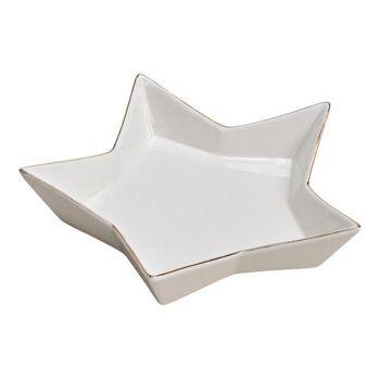 Teller Stern aus Porzellan Weiß, gold (B/H/T) 21x4x21cm