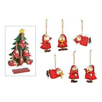 Weihnachtshänger Nikolaus 48 Stk. auf Baum Display aus Holz Bunt 6-fach, (B/H) 6x10cm
