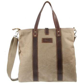 Shopper Schultertasche Tasche Canvas Echt Leder Damen Vintage