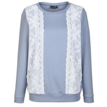 Sweatshirt mit modischem Spitzeneinsatz