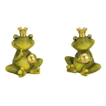 Froschkönig mit goldener Kugel aus Keramik, 2-fach sortiert, 9 cm