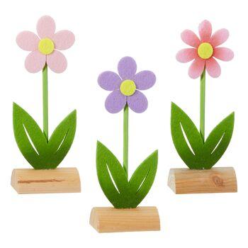 17-52919, Holz Deko Blume 16 cm hoch