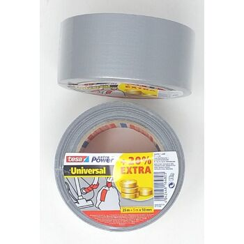 12-5639600, Tesa Pack Panzerband  25 + 5m x 50mm  silver  extra Power  (+20%), 30 Meter Rolle