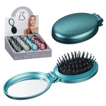 12-81192, Klappbürste mit Spiegel, oval, Haarbürste