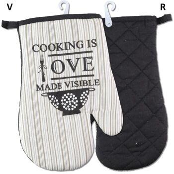28-301572, Ofenhandschuh aus Baumwolle, gesteppt, Grillhandschuh