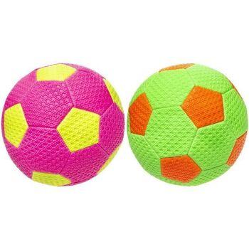 21-4857, Neon Leder Fussball 22 cm, Lederball, Handball, Fußball, Wasserball, Spielball, Strandball