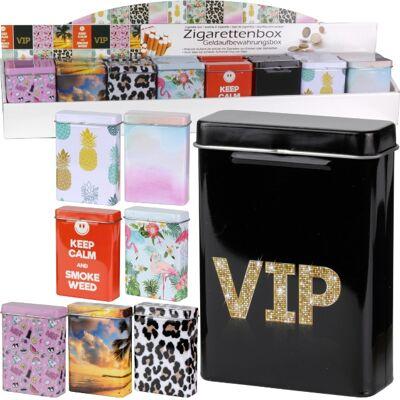 28-753822, Zigarettenbox aus Metall, mit Klappdeckel, Zigarettendosen, Zigarettenetui, Zigarettenschachtel, Tabakdose