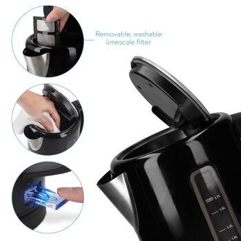 Wasserkocher 1,7l - 2200 Watt - mit Abschaltautomatik Füllstandsanzeige Anti-Kalk Schutzfilter | 1,7l Water Kettle