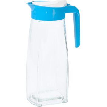 28-407574, Glaskrug Saftkrug, mit farbigem Deckel und Henkel